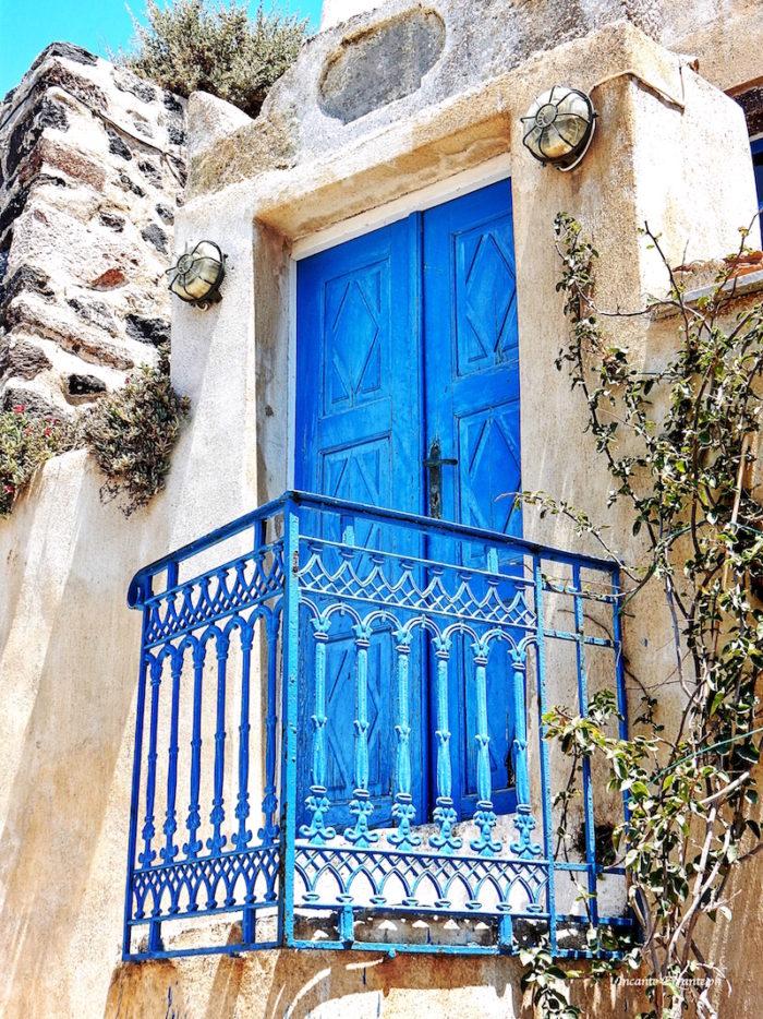 Porta blu balcone